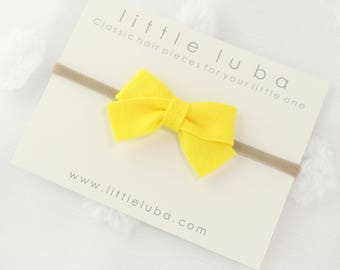 Felt bow headband, Baby Headband, Newborn Bow Headband, Baby Headbands, Girls Bow Headband, Infant Bow Headband, Baby. | Yellow Felt Bow