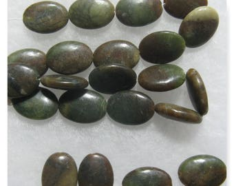 22 Serpentine Gemstone Beads 12 x 17 mm Oval Beads