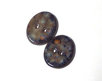 Ceramic Buttons Brown Turtle Pattern 2 Large Oval Pottery Fasteners 2 Hole Shiny Glass Finish Natural Rustic Natural Rustic Big Sewing Craft