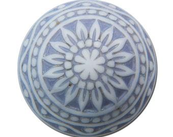 Vintage Etched Mosaic Gray Lavender Blue Cabochons 14mm cab713