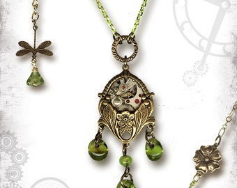 BoHo Chic Steampunk Garden Necklace - Za Dee Da Time Traveller Collection - Bohemian SpringTime