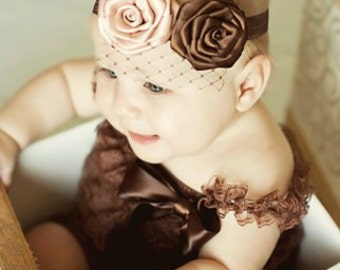 Tan and Brown Elegant Rosette Flower Headband Accented w French Veiling Netting Newborn Infant Toddler Big Girl Headband Photo Prop