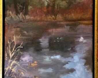 Pond's Edge. 12x14 oil on canvas.