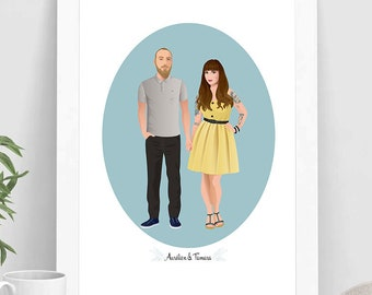 Custom couple portrait, Digital Illustration to print, Couple Rockabilly portrait, Portrait with tattoos