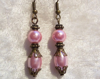 Pink Earrings, Victorian Earrings, Bronze Earrings, Pink Glass Pearl Earrings, Drop Earrings, Dangle Earrings, Feminine Earrings, Victorian