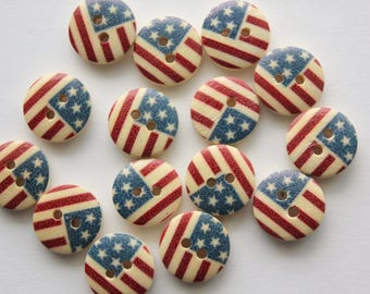 American Flag Buttons - Wood - 10 Count