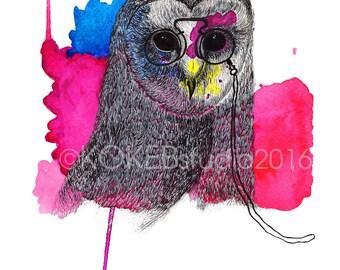 OWL -   animal alphabet art, whimsical art, nursery decor, home decor