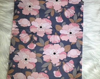 pink and grey floral clutch