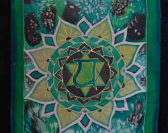 Mandala, 4. Chakra, Metatron, hand painted silk scarf, art to wear, unique