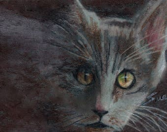 original art drawing color pencil aceo black cat Halloween