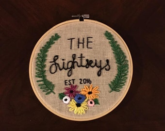 Personalize embroidery hoop art, custom embroidery hoop