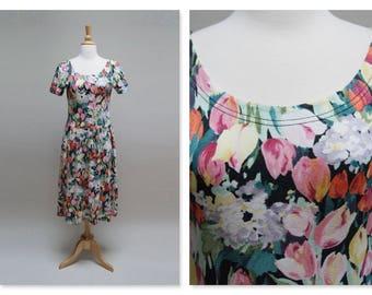 Vintage 80s Floral Grunge Dress 1980s Midi Festival Dress Short Sleeve Tulip Print Boho Lanz Originals Dress