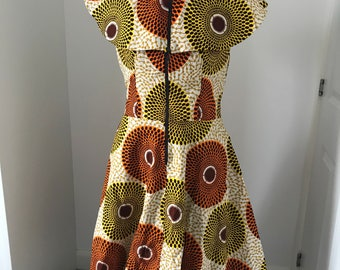Brown and yellow disc Ankara dress african print flare dress