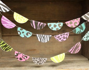 Garlands, Birthday Party Decorations, Paper Garlands, Party Garlands, Animal Print Decorations, 10 ft long