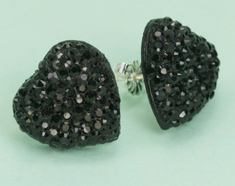Vintage  Black Gem Rhinestone Heart Button Post Earrings