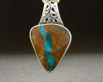 Turquoise Pendant, Nevada Boulder Turquoise  Sterling necklace, OOAK handmade in USA