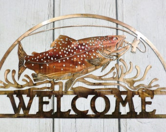 Salmon Welcome Metal Sign