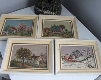 Gorgeous-4 hand made vintage 4 seasons embroidered wall hangings, framed needlepoint cottages, spring, summer, fall, winter,Mini needlepoint