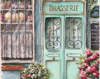 Wine Art, Wine Decor, Brasserie Painting, Bottle Of Wine In Window, Paris Room Decor, Paris Posters, Paris Bedroom Decor, French Home Decor