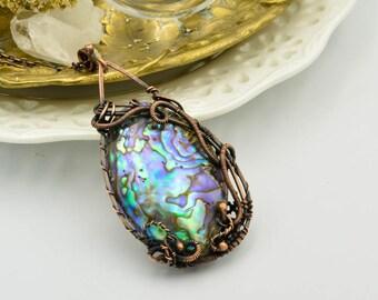 Abalone shell necklace, boho jewelry, necklace, jewelry, wire wrapped, hippie, witchcraft jewelry, natural jewelry, mermaid jewelry, boho