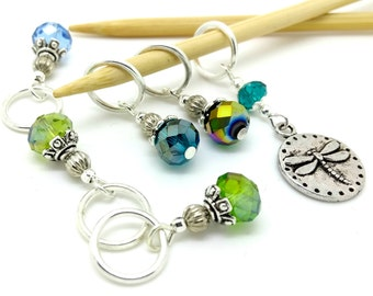 Dragonfly Stitch Markers or progress keeper - glass beaded dragonflies stitchmarkers - dragonfly notions - blue green knitting or crochet