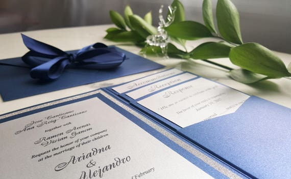 Navy Blue And Silver Wedding Invitations: Navy Silver Wedding Invitations / Blue Pocket Fold Invites