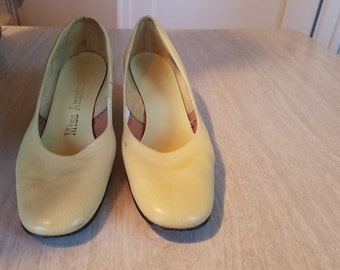 Vintage Miss America Canary Yellow Pumps, Size 8