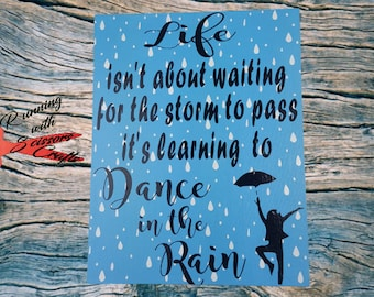Dance in the rain, canvas, painting, art, inspirational art, room decor, wall art canvas, dance, dancing, nursery decor, inspirational