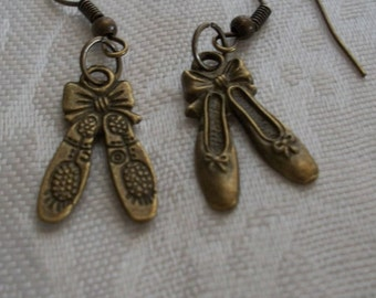 Ballerina Shoes, Double  Sided Earrings, Bronze Jewelry by Brendas Beading on Etsy