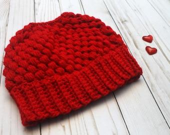 Red Crochet Messy Bun Beanie Valentines Day READY TO SHIP Adult Women Size Crochet Hat Crochet Beanie for Women Crocheted Hats Messy Bun Hat