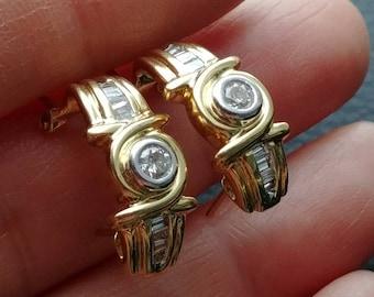 14k Gold 1ct Diamond Earrings Hoops
