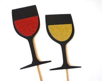 Photo Booth Props - Wine Collection - Set of 2 Photobooth Props with GLITTER
