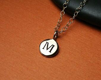Gold initial necklace, gold necklace, gold initial charm, gold charm necklace, personalized gold letter necklace, initial charm gold letter