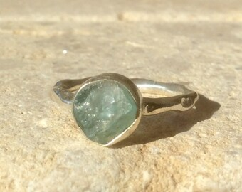 Raw Stone Ring, US 7.75, Raw Apatite Ring, Apatite Silver Ring, Rough Natural Gemstone Ring, Natural Apatite Gemstone Silver Ring