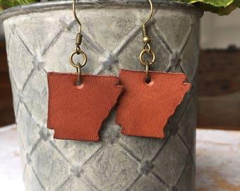 Leather Dangle Earrings/Leather Earrings/Joanna Gaines Earrings/Arkansas Earrings/Arkansas Jewelry