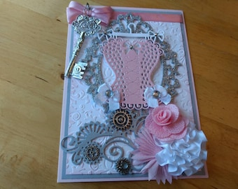 Corset Celebration card / Mother's Day Card / Birthday Card / Congratulations / Steampunk Wedding Card / Interchangeable sentiments