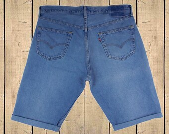 Levis 501 Shorts W35 Denim Soft Blue USA Made Turn Ups Button Fly Red Tab High Waisted 90s