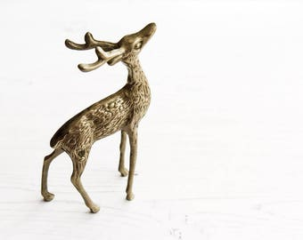 Vintage Brass Stag, Christmas Decoration, Holiday Decor, Ornaments & Accents