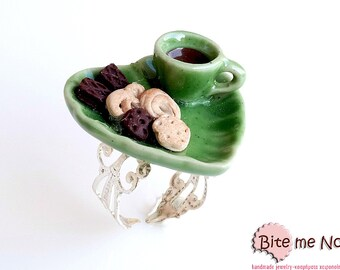 Coffee and Assorted Biscuits Ring, Cookies Ring, Biscuits Ring, Coffee and Cookies, Cookies Jewelry, Food Jewelry, Miniature Cookies, Kawaii