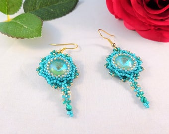 Delicate Green Jewelry Womans Beaded Earrings for Her, Romantic Bridesmaid Gift, Beadwork for Wife Elegant Beaded Earrings for a Night Out
