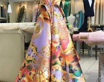 Tissu imprimé couture robe Mikado