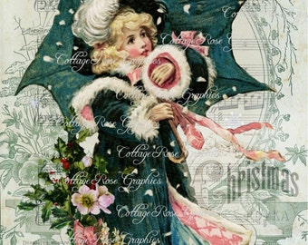 Vintage Victorian girl in green coat and muff collage Large digital download ECS buy 3 get one free