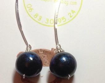 Earrings black and blue ball VIP iridescent creapam