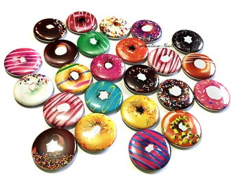 "Donuts, 1"", 1.5"", Button ,Donut Button, Donut Decor, Donut Party Favor, Donut Theme, Donut Pinback, Donut Flatback, Doughnut, Doughnut Pin"