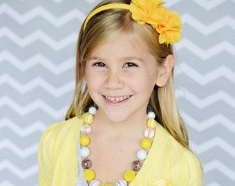 Grey Yellow Chunky Bubblegum Bead Necklace Bracelet Set Chevron Birthday, Photo Prop Necklace Set, Toddler Baby Child Size