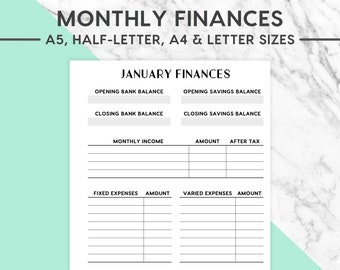 NEW! MONTHLY FINANCES Printable | Classic, Expenses Insert, Monthly Expenditure, Finance Planner, Budgets, Finance, Budget And Finance