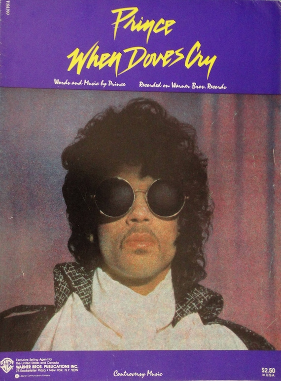 When Doves Cry vintage sheet music Prince photo cover