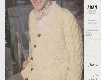 Mans Jacket PDF Aran knitting pattern Traditional Irish Design 1970s men's cardigan