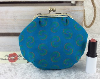 Shwe Shwe coin purse wallet fabric kiss clasp frame wallet change pouch handmade turquoise geometric South Africa