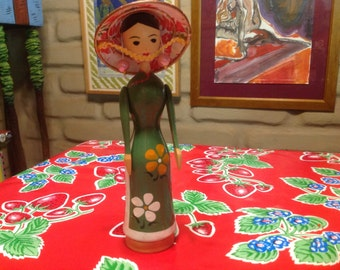 Vintage hand painted wooden folk art  Japanese doll